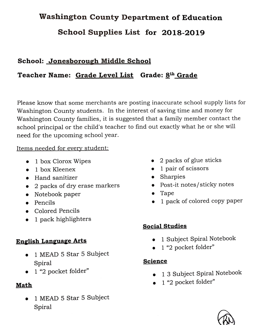 School Supply Lists / School Supply List
